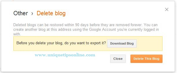 how to delete old blogger account