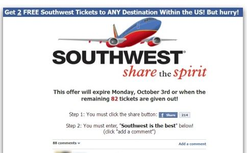 Two Free Southwest Airlines Tickets scam