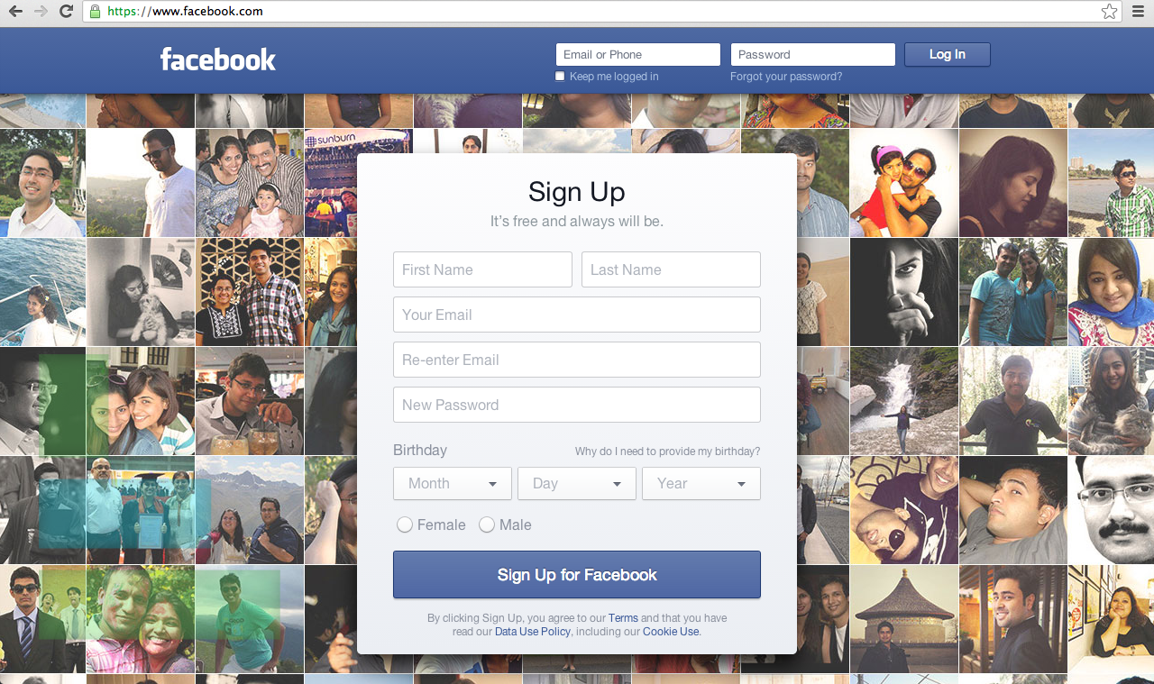 facebook testing new login page