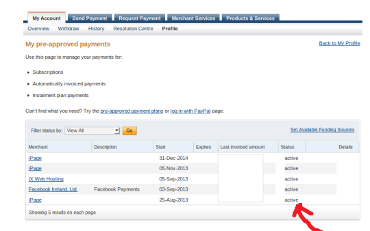 paypal active payments